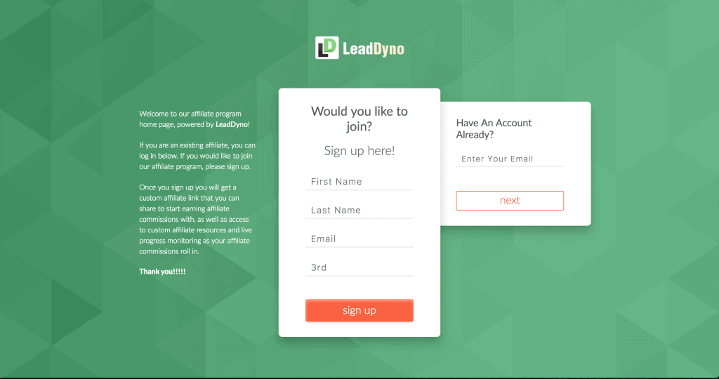 LeadDyno Affiliate Marketing Sign Up Page Sample