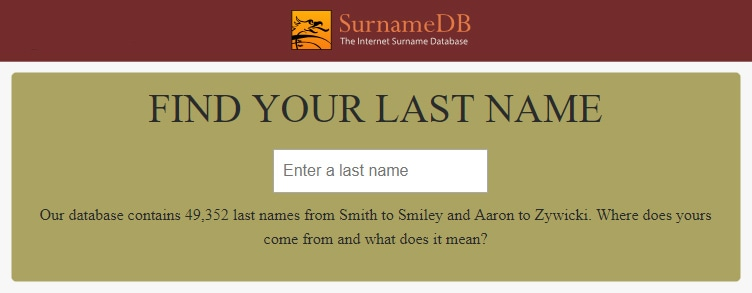 The Internet Surname Database