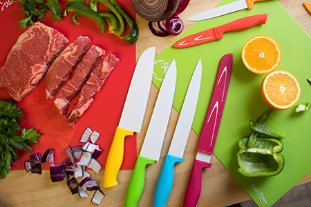 Kitchen Prep with Color | Knives + Chopping Boards