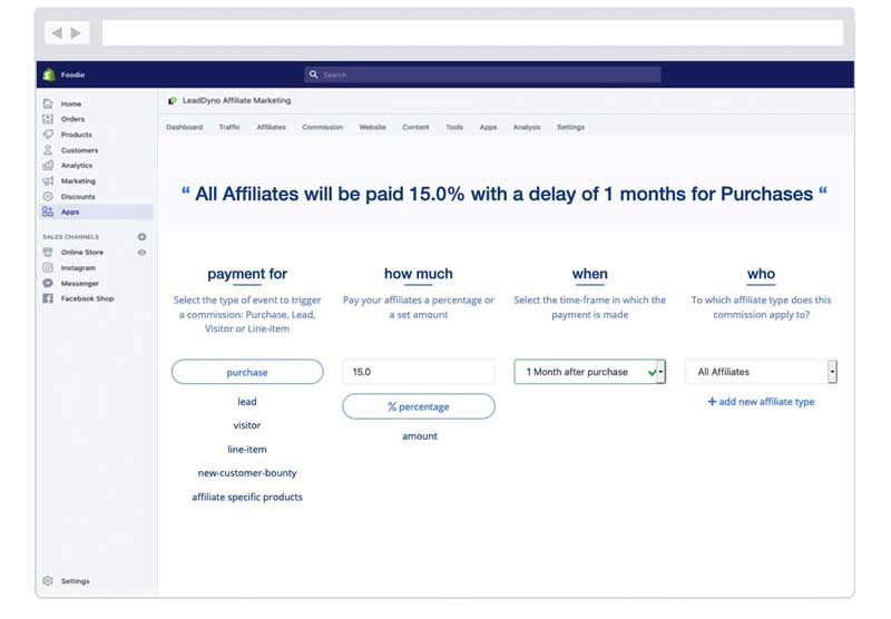 Shopify Affiliate Commissions